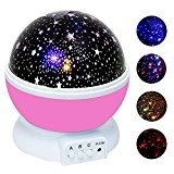 KOBWA Lampe de Projection de Nuit Étoilée Rotative 4 LED Veilleuse Enfant pour Chambre Chevet Table de Fille Fils Cadeau ...