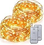 Kohree® Guirlande Lumineuse LED Fil cuivre Guirlande Lumineuse à Piles 120 LED 6M Avec télécommande Lot de 2 unités