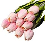 """Kolylong Fleur Artificielle Bouquet Fleur De Tulipe Et Feuille Verte DéCoration PE Maison Mariage Accessoire Jeune MariéE Bouquet (35cm/13.8""""--10pcs, Rose)"""