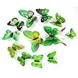 Kolylong stickers Muraux de Papillons 3D Sticker Mural Autocollants bricolage papillon amovible Reutilisable Pour chambre Salon (Vert-12PC)