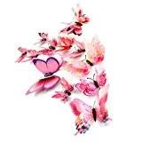 Kolylong stickers Muraux de Papillons 3D Sticker Mural Autocollants bricolage papillon amovible Reutilisable Pour chambre Salon (Rose-12PC)