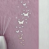 Kolylong® Wall Stickers Home Decor Living Room Feather Wall Sticker 30PC 3D Miroir Stickers Muraux DéCoration Combinaison Papillon Bricolage