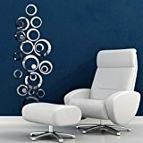 Kolylong® Wall Stickers Home Decor Living Room Feather Wall Sticker Circles Miroir Style Amovible Sticker Vinyle Art Wall Sticker Home ...