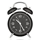 Konigswerk Réveil analogique vintage Alarme à double cloche et éclairage de nuit 10cm - noir