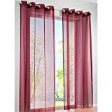 KOU-DECO 1Pc/Paquet Rideau Voilage En Voile Uni De Haute Qualité Rideau De La Fenêtre Décorative Pour Chambre 140x245CM (bordeaux)