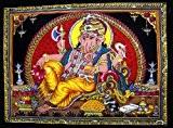 Krishna Mart Inde tissu en coton Seigneur Ganesh/Ganesha Ganpati/Yoga 109,2x 76,2cm Tapisserie multicolore