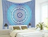 L'Art Box Twin indien Ombre Bleu Mandala Coton hippie Décoration murale à suspendre Couvre-lit Couvre-lit Dortoir Tapisserie décoratifs pique-nique Plage ...