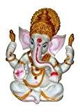 La Bénédiction. Un blanc & or Statue de Lord Ganesh Ganpati éléphant Dieu Hindou en poudre de marbre