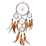 La Cabina Indien Handmade Dream Catcher avec Plumes Attrape-rêves Capteur de Rêves Décoration Chambre Maison (Gris)