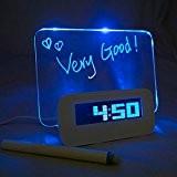LA HAUTE Réveil Digital Tableau LED Bleu Message Lumineux Fluorescent Horloge numérique + 4 USB + Message Pen Deco +Calendrier+Température ...