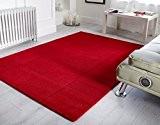 Laine Épais en rouge Chocolat Beige Bleu sarcelle Gris Couleur Tapis Tapis Motif carrés en 4tailles, Rouge, 150 x 210 ...