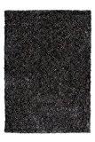 Lalee 347193240 et fait main de haute qualité tapis de créateur Shaggy gris foncé, Polyester, gris, 200 x 290 cm