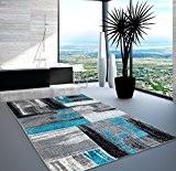 Lalee Swing Tapis moderne et design pour le salon, dégradé bleu/gris/noir, Bleu gris, 200 cm_x_290 cm