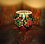 Lalhaveli HND00662 Photophore à facettes en verre peint à la main