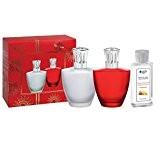 Lampe Berger 4477Satin Givre Lampe à Parfum Coffret de verre blanc, mat, couronne argent, brillant, 4x 10x 17cm