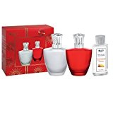 Lampe Berger 4478Satin Rouge Lampe à Parfum Coffret de verre rouge, couronne argent, brillant, 4x 10x 17cm