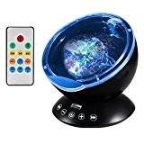Lampe Projecteur LED, Simulation des Vagues Océan 7 Modes Veilleuse de Nuit avec Télécommande Mini Enceinte Intégrée (Noir)