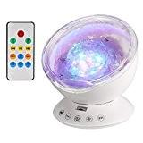 Lampe Projecteur LED, Simulation des Vagues Océan 7 Modes Veilleuse de Nuit avec Télécommande Mini Enceinte Intégrée (Blanc)
