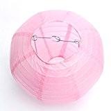Lampion Chinois Abat-jour en Papier Lanterne Boule pour Décoration de Mariage Maison Noël Fête avec LED(Lot de 10pcs)-Dazone®-10 Pouces(25cm)-Rose