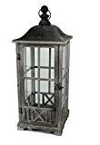 Lanterne en bois Lanterne Décoration Lanterne Gris/marron 19x 19x 45,5cm