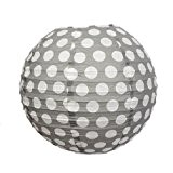 Lanterne Japonaise boule de 35 cm en papier, Boule chinoise Grise à pois blancs