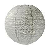 Lanterne Japonaise, Lampion boule Gris perlé Papier perforé dentelle, de 35 cm