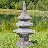 Lanterne japonaise pagode en pierre de lave 90 cm