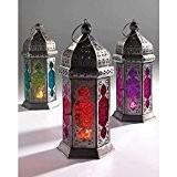 Lanterne style marocain en verre coloré et fer Issue du commerce équitable Orange/rouge