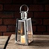 Lanterne Trapèze en Acier Inoxydable avec Bougie LED à Piles, 21cm par Lights4fun