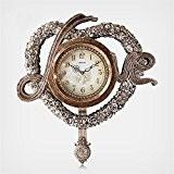 Lares Domi Cru Romantique Modèle Coeur en Forme Silencieux Déco Pendule Murale, Classique Bronze