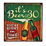 LARES Domi Décoration Murale Finition vintage style rétro bière Temps Plaque en 30 x 30 cm