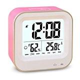 LED Alarme Horloge avec humidité/ date/ température/ Capteur Fonction et rétroéclairage Intelligent commande tactile (rouge)