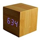 LED Digital Réveil Thermomètre Alarme Clock Xagoo® Horloge Bureau (Couleur de bois&bleu cube)