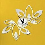 LeGow® Acrylique 3D Miroir Effect Wall Clock Miroir Horloge Murale Pour Deco Maison (Argent)