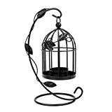 LEORX Cage à oiseaux Style vintage porte bougie bougeoir à suspendre support bougie Cage pour décoration de table (Noir)
