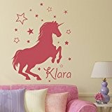 Licorne - Sticker mural Rose clair 50 x 64 cm (Muraux Décoration Murale Stickers Wall Decal Autocollants Salon Chambre d'enfants ...