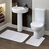 Lifewit Ensemble 3 pièces de Tapis de Toilette Lavable Tapis de Bain + Tapis de Couvercle de Toilette de Taille ...