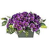 Ligne Déco 451209WO Fleurs Artificielles Funéraires en pot lesté - Jardinière de Violettes et Gypso 21 cm