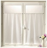 Linder 0323 /10/415 Paire de Vitrages Droits Etamine Blanc Passe Tringle 55 x 160 cm