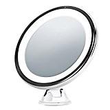 LiSmile Miroir maquillage LED Miroir Lumineux à Grossissement 7X, LED Light Doux et Chaud , Luminosité réglable, Veutouse verrouillable, Orientable ...