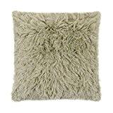 Longs poils très doux en imitation fourrure taupe en daim beige Housse de coussin 40,6cm–40cm