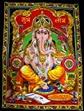 Lord Ganesha Deity Art Sequin Work Indian God Batik Wall Hanging 43 x 30 by Krishna Mart India