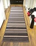 Lord of Rugs Tapis de couloir à rayures long contemporain Gris/noir 60x 220cm