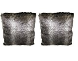 Lot 2 coussins fausse fourrure - gris blanc - haute qualité - VICTOR