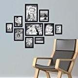 Lot de 10 cadres Photolini Collection Basique Moderne Noir en MDF comprenant accessoires / collage de photos / galerie d'images ...