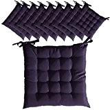 Lot de 10 Galettes de chaise à assise matelassée - Unies - 40x40x5cm - Violet