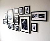 Lot de 12 cadres à photos muraux modernes en bois (Noir)