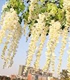 Lot de 12Longueur 105cm Fleurs Artificielles Glycine soie Faux Simulation Fleurs Vigne guirlande Corde à suspendre de vigne de fleur ...
