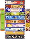 Lot de 12Nag Champa Ayurveda Chakra Aroma Therapy Devotion Rituel Tantra tibétain AJARO Satya Super Hit aastha Trisha Mantram Paquet ...