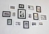 Lot de 15 cadres à photos muraux modernes en bois (Noir & Blanc)